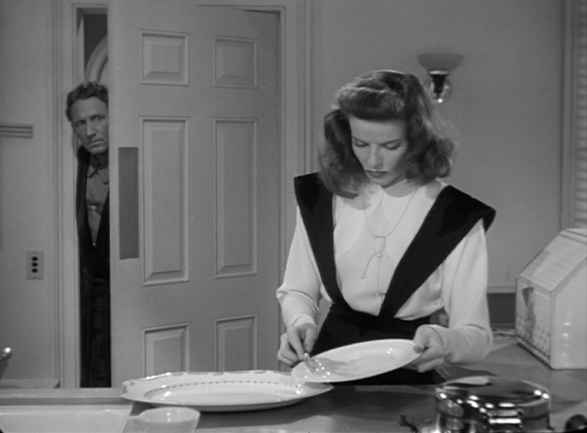"Katherine Hepburn makes breakfast in ""Woman of the Year"""