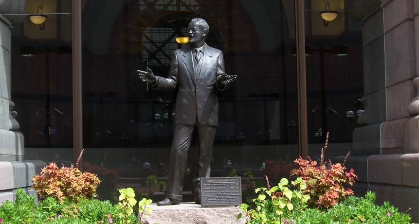 Statue of Hubert Humphrey outside the Hennepin County Courthouse in downtown Minneapolis