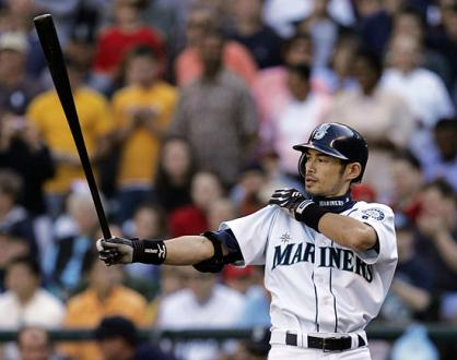 Ichiro Suzuki tugs on this sleeve during an at-bat with the Seattle Mariners