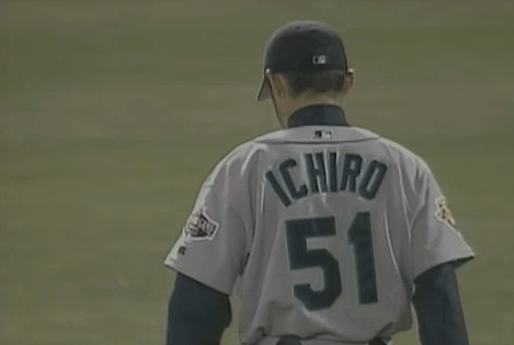"Ichiro after ""The Throw"" against Terrence Long: April 11, 2001"