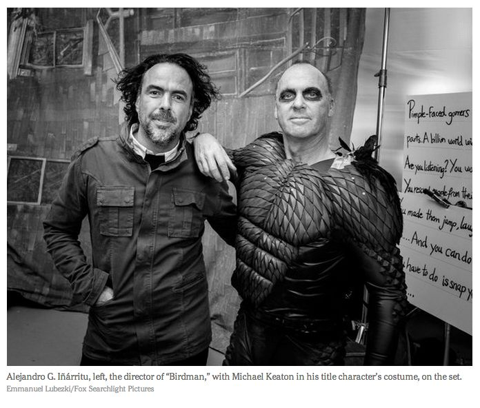 Alejandro Inarritu and Michael Keaton on the Birdman set