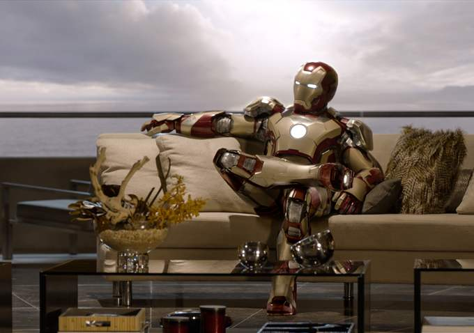 Iron Man on the couch