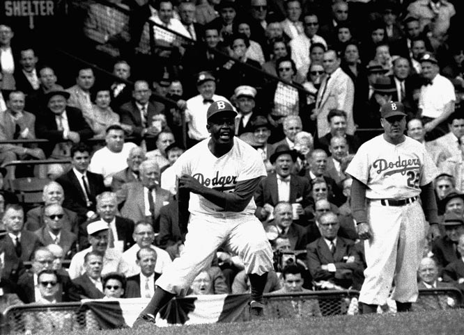 Jackie Robinson leading off third