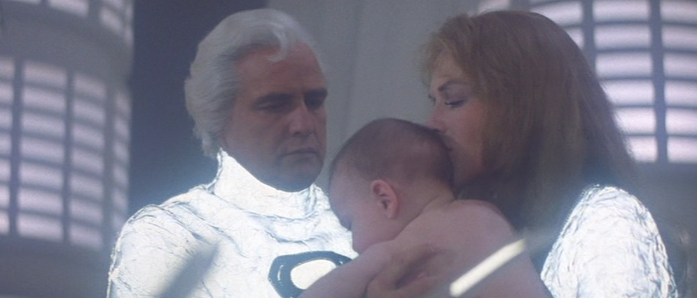 "Jor-El and Lara with baby Kal-El in 1978's ""Superman"""