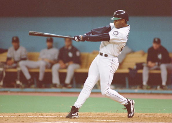 Ken Griffey Jr., swinging