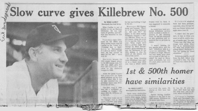 Harmon Killebrew's 500th homerun: The Minneapolis Star
