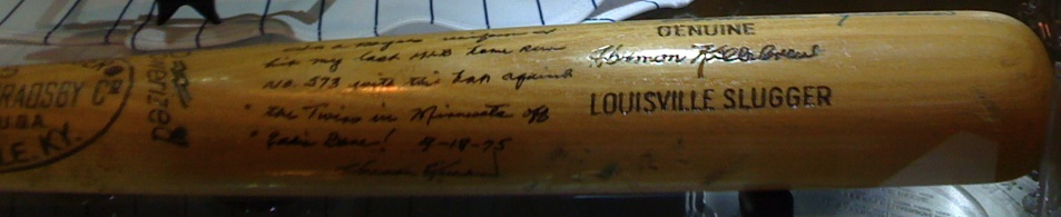 The bat Harmon Killebrew used to hit his 573rd career homerun