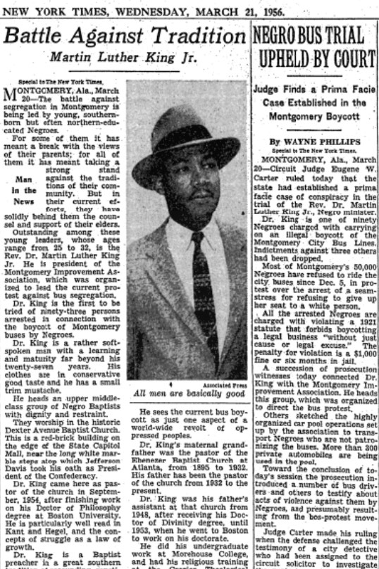 First time Martin Luther King Jr. is profiled in the New York Times