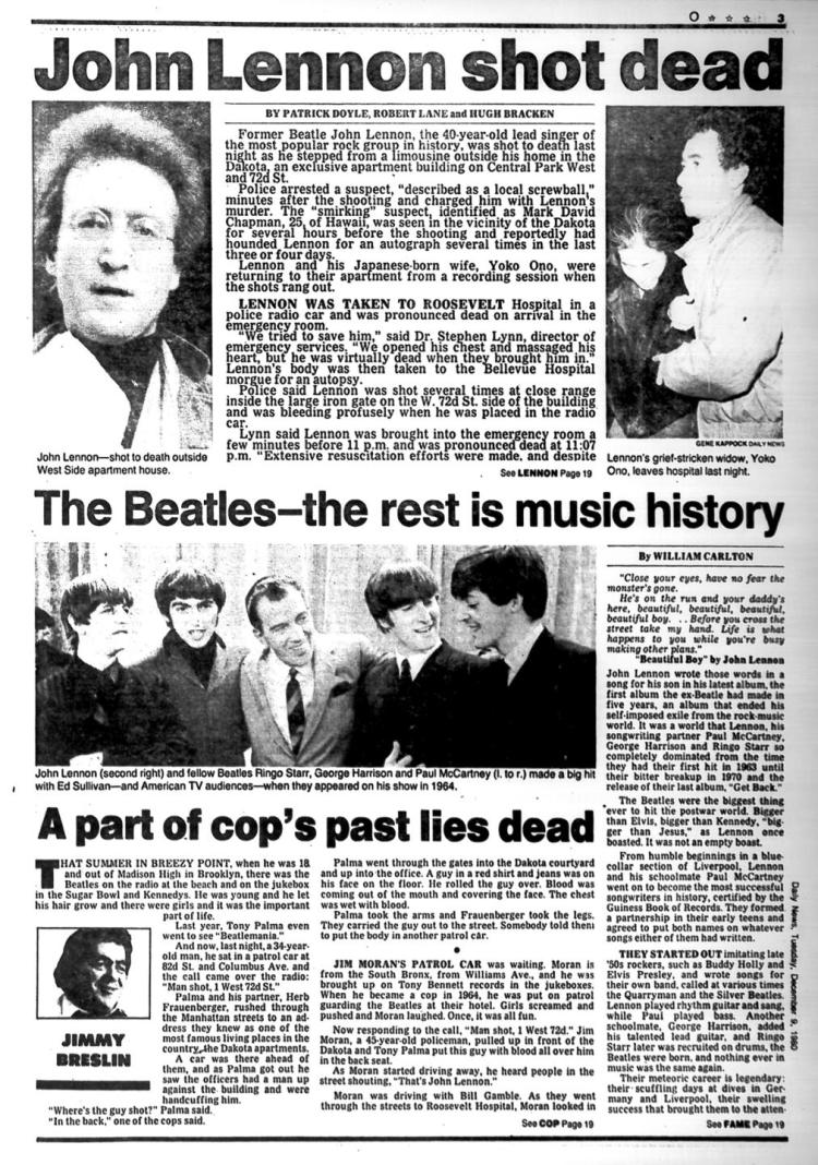 NY Daily News on the day John Lennon was killed
