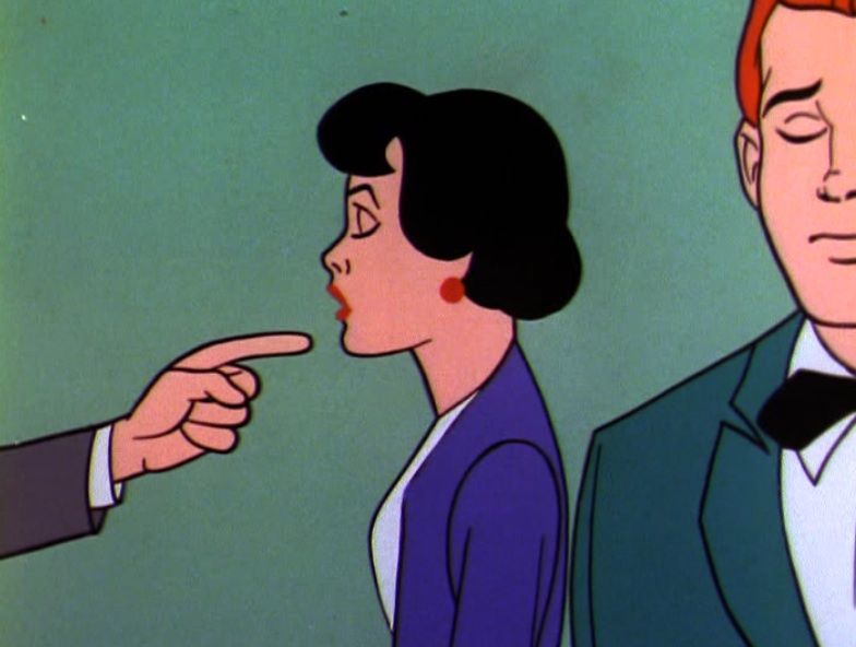 Lois Lane, hypnotized, with finger