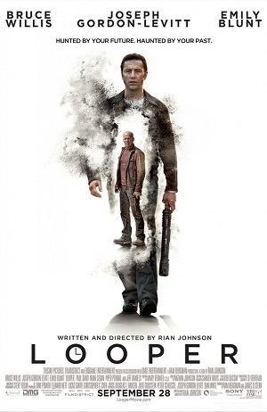 "Poster for ""Looper"" (2012), starring Joseph Gordon-Levitt and Bruce Willis"