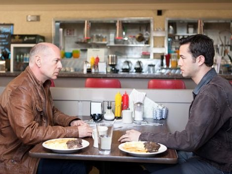 "The diner scene from ""Looper,"" with Bruce Willis and Joseph Gordon-Levitt"