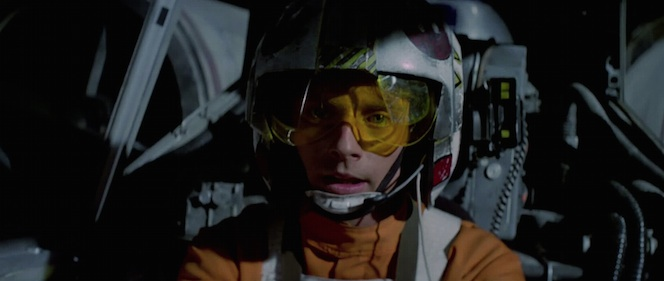 Luke Skywalker in an X-wing fighter