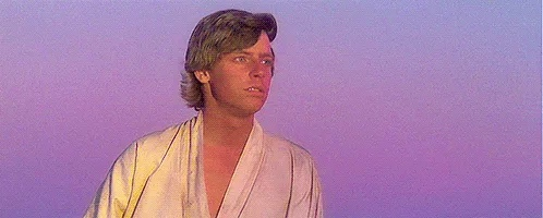 Luke Skywalker staring at the sunset on Tatooine
