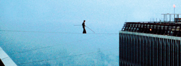 Philippe Petit walks between the twin towers: August 7, 1974
