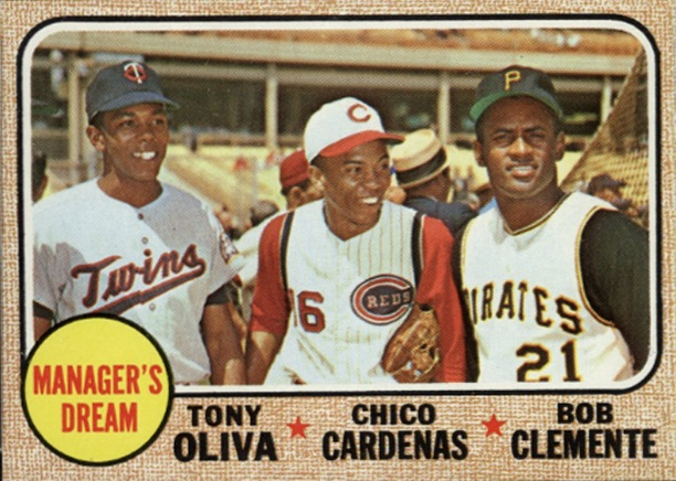 Manager's Dream card with Tony Oliva, Leo Cardenas and Roberto Clemente