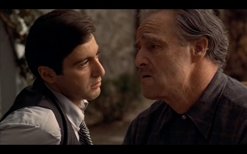 "Michael Corleone and Vito Corleone confer in ""The Godfather"" (1972), the best of the best pictures"