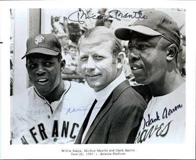 Willie Mays, Mickey Mantle, and Henry Aaron, at Fulton County Stadium in Atlanta, 1969