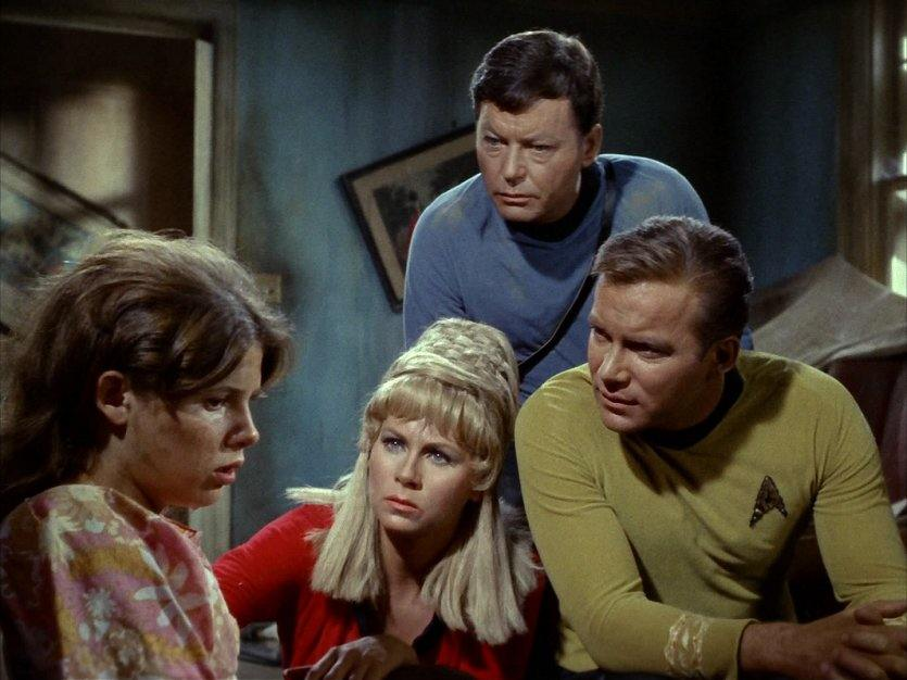 "Captain Kirk, Dr. McCoy, Janice Rand and Miri in the first-season, original series ""Star Trek"" episode, ""Miri"""
