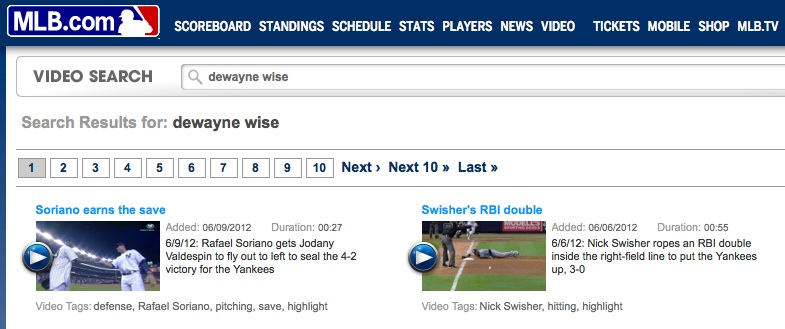 MLB.com search function