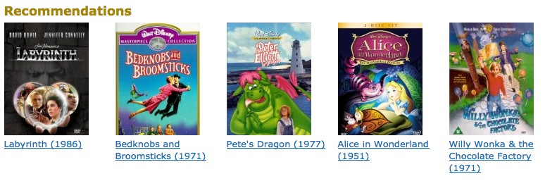 "IMDb recommendations on ""The Wizard of Oz"" page"