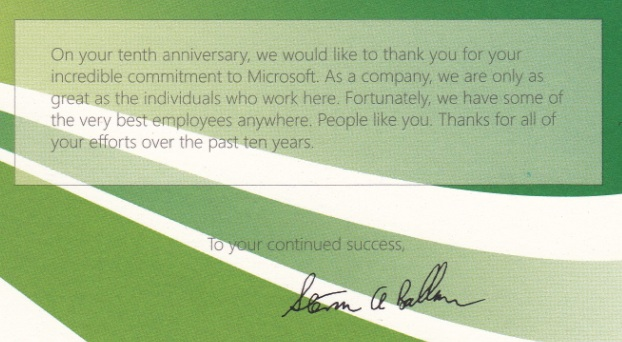 10th anniversary card from Steve Ballmer and Microsoft