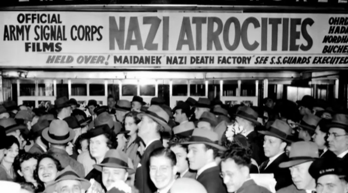 Newsreel footage of the Holocaust (NAZI ATROCITIES!) first showed in American theaters in May 1945
