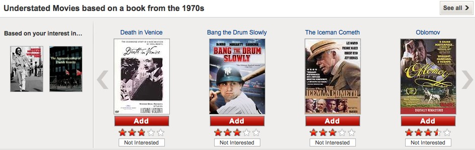 Netflix recommendations: based on your interest in...