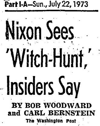 "Nixon Sees ""Witch Hunt"""