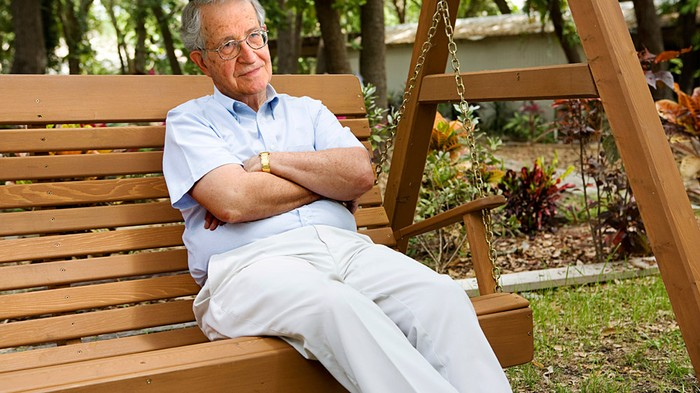 Noam Chomsky kicks back