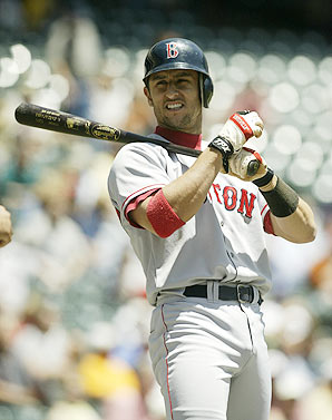 Nomar Garciaparra, between pitches, fiddling.