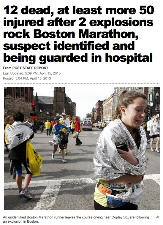NY Post Boston Marathon bombing headline: 12 dead
