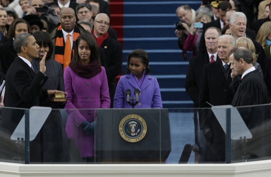 Barack Obama being sworn in for the second time on Jan. 21, 2013: MLK Day