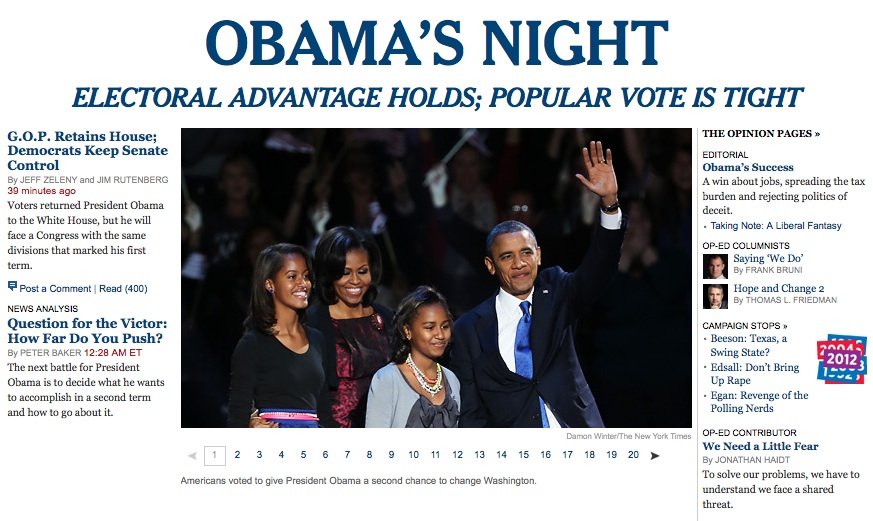 Obama's Night on the New York Times site