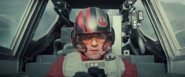 Oscar Isaac in an X-wing fighter