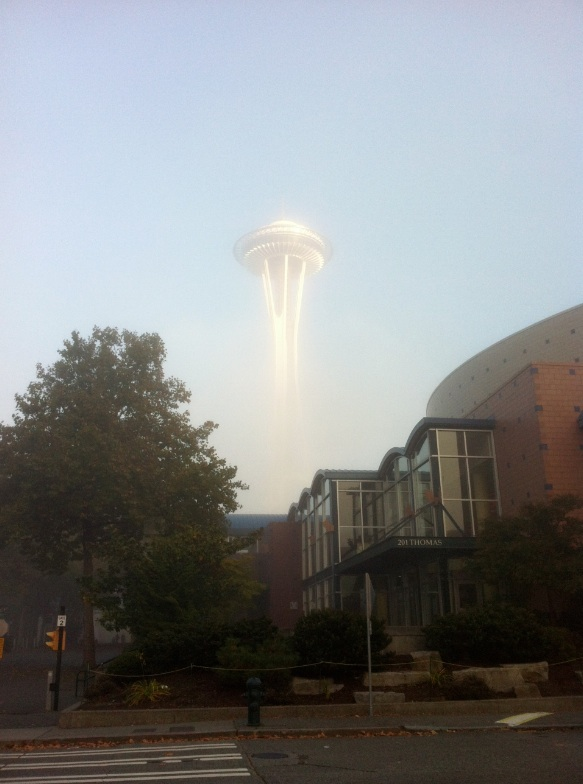 Outer Space Needle: The Space Needle in a low fog