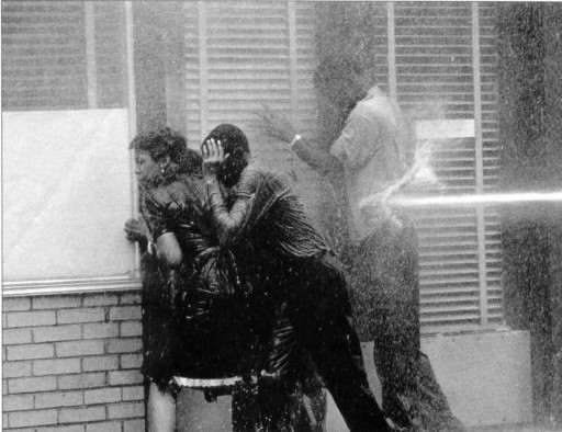 water cannons, fire hoses, used on protesters in Birmingham, Ala., 1963