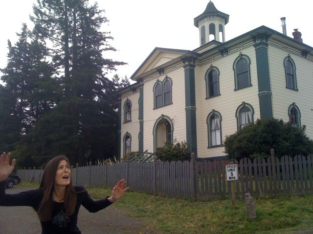 "Patricia running from the Potter Schoolhouse in the town of Bodega, California, where ""The Birds"" was filmed."