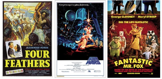 First podcast posters: Four Feathers, Star Wars, Fantastic Mr. Fox