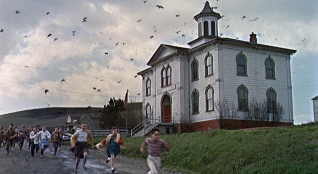 "The Potter Schoolhouse under attack in Hitchcock's ""The Birds"""