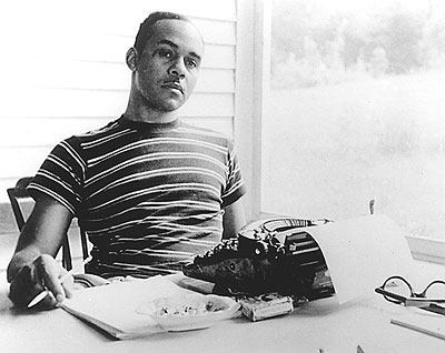 Ralph Ellison, at typewriter