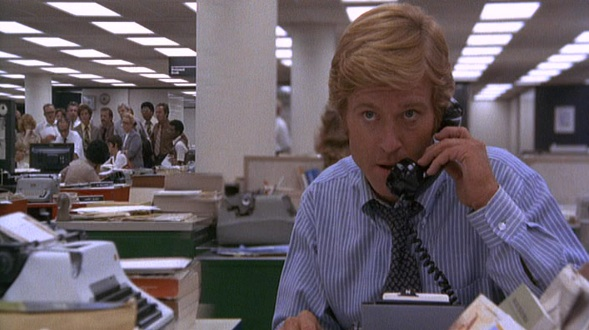 "Robert Redford as Bob Woodward in ""All the President's Men"" (1976)"
