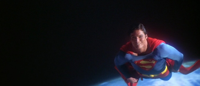 Christopher Reeve as Superman, smiling