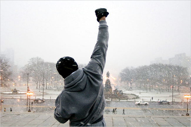 Rocky Balboa runs up the steps of the Philadelphia Art Museum