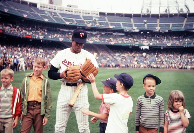 Rod Carew tries on my glove, Met Stadium, 1970