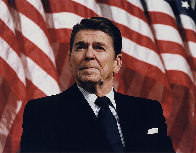 Ronald Reagan, the flag, and the forced innocence of the American way
