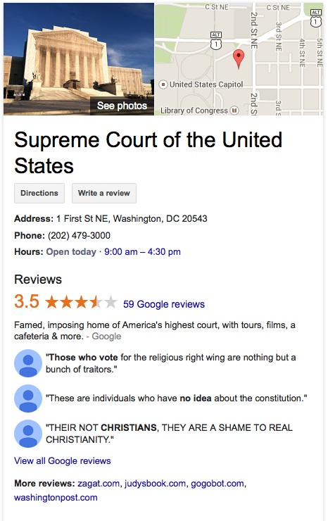 Google reviews the Supreme Court of the United States