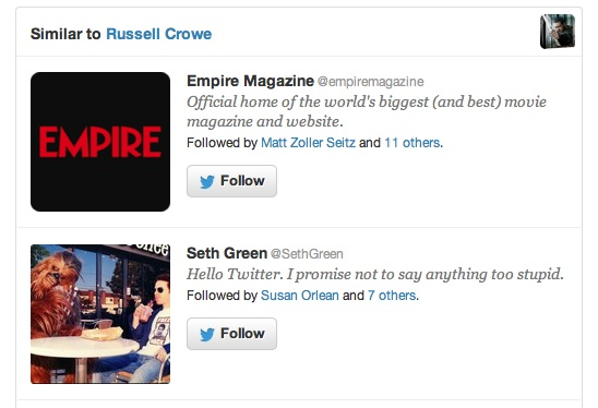 Twitter message: Similar to Russell Crowe
