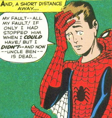 "Spider-Man's origin in Amazing Fantasy #15: ""All my fault!"""