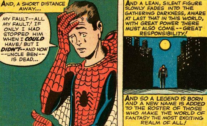 The origin of Spider-Man, from Amazing Fantasy #15